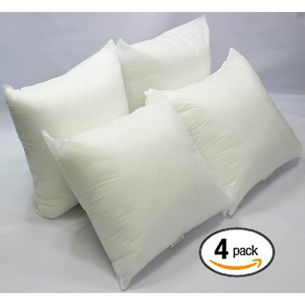 Set Of 4 18 X 18 Premium Hypoallergenic Stuffer Pillow Insert Sham Square Form Polyester Standard White Made In Usa Walmart Com Walmart Com