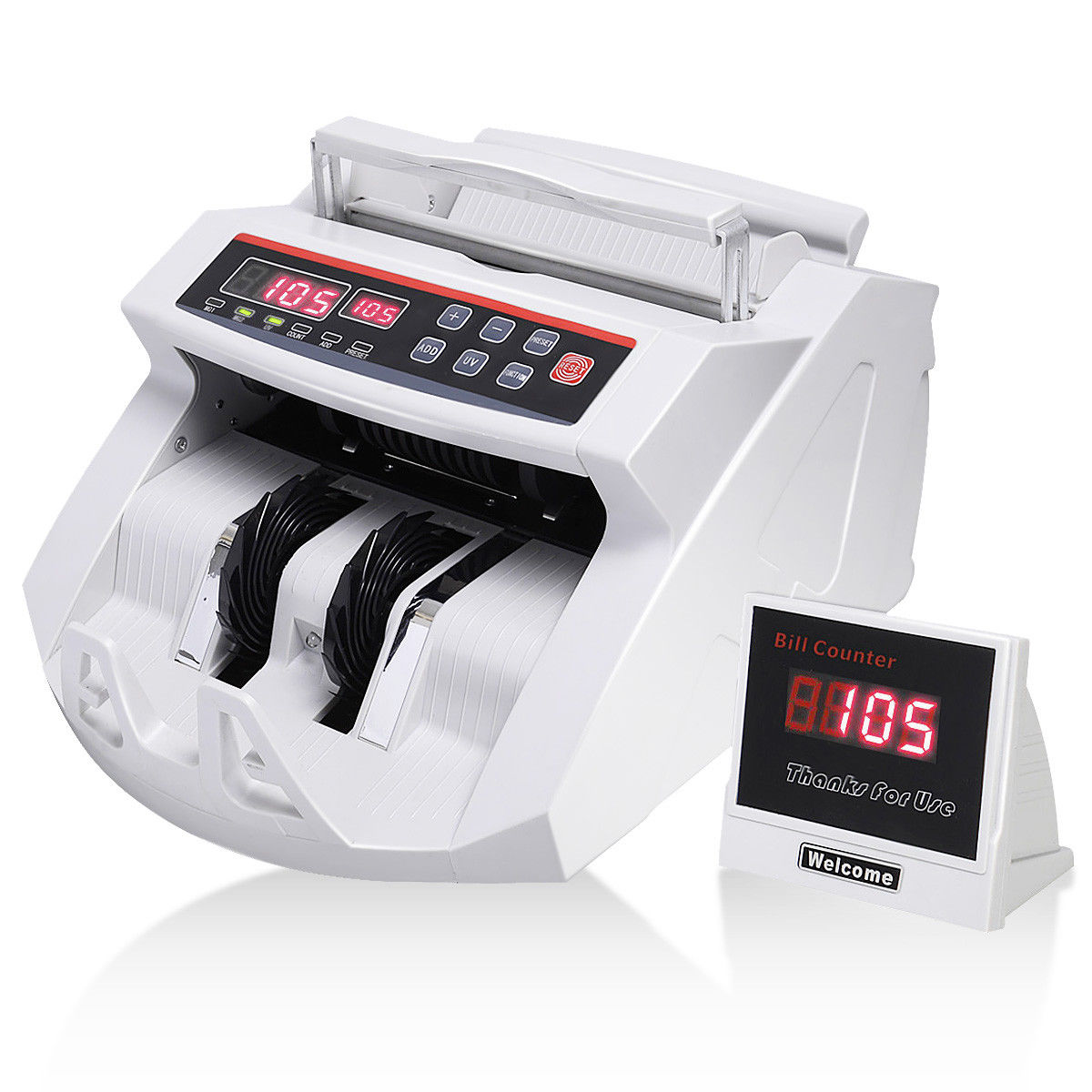 Costway Money Bill Counter Counting Machine Counterfeit Detector UV & MG Cash Bank