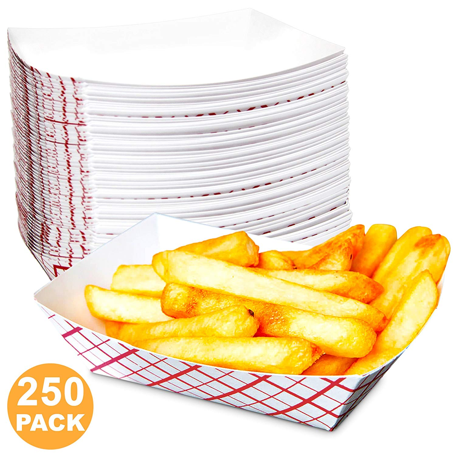 25 Disposable Plates Paper Rectangle White Cardboard Party BBQ Picnic Food