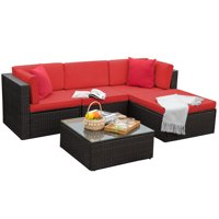 Walnew 5 Pieces Outdoor Patio Sectional Sofa Sets All-Weather PE Rattan Conversation Sets With Glass TableRed