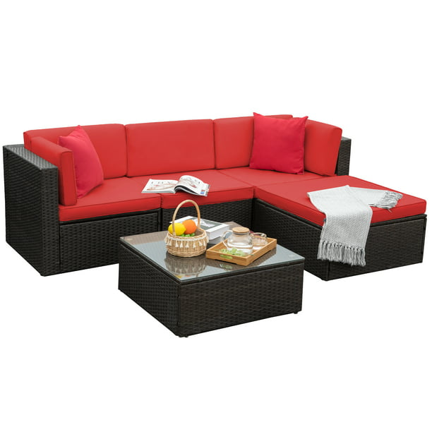 Walnew 5 Pieces Outdoor Patio Sectional Sofa Sets All-Weather PE Rattan Conversation Sets With Glass Table(Red)