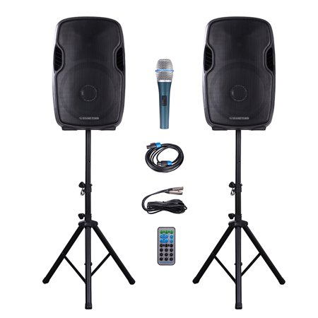 Sound Town Portable 15'' 2500 Watt 2-Way Powered PA DJ Speaker System Combo Set with Bluetooth/Onboard Equalizer/USB/SD Card Reader/LED Light/1 Mic/2 Speaker Stands, for Party, Karaoke