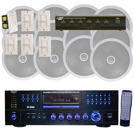 1000 Watt 6 Channel In-Ceiling Speaker System With w/Built-in DVD/MP3/USB & Wall Mount Volume Control