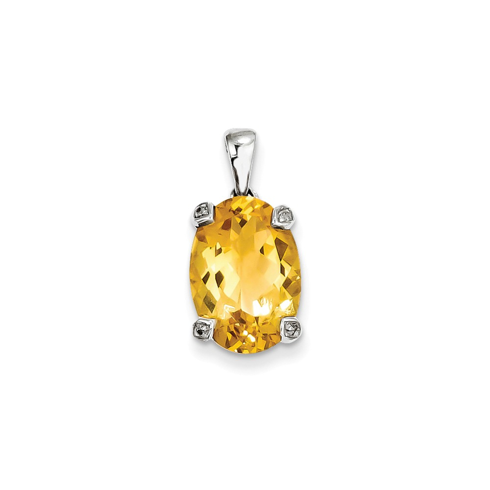 Sterling Silver Rhodium Citrine & Diamond Pendant. Gem Wt- 5.2ct
