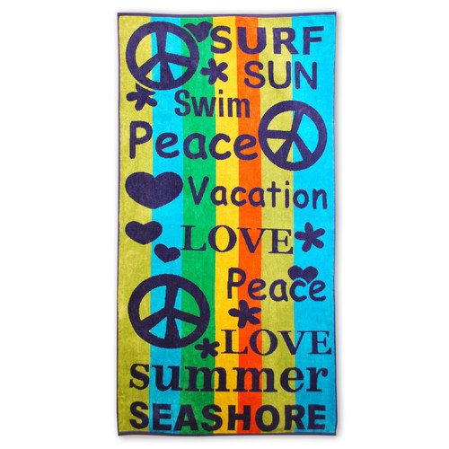 Simple Luxury Superior Oversized Jacquard Cotton Peace and Love Beach Towel