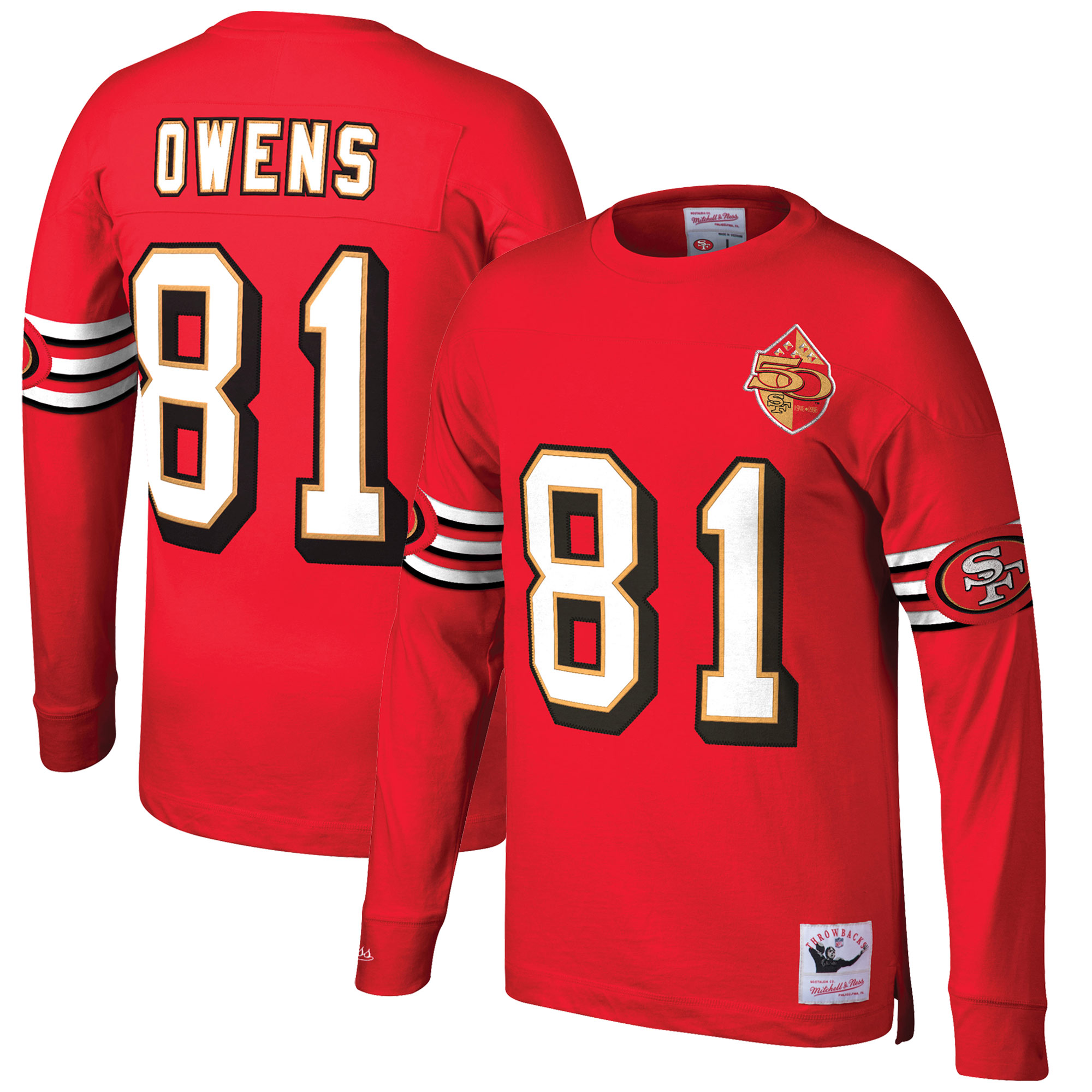 Terrell Owens San Francisco 49ers Mitchell & Ness Throwback Name & Number Long Sleeve T-Shirt - Scarlet