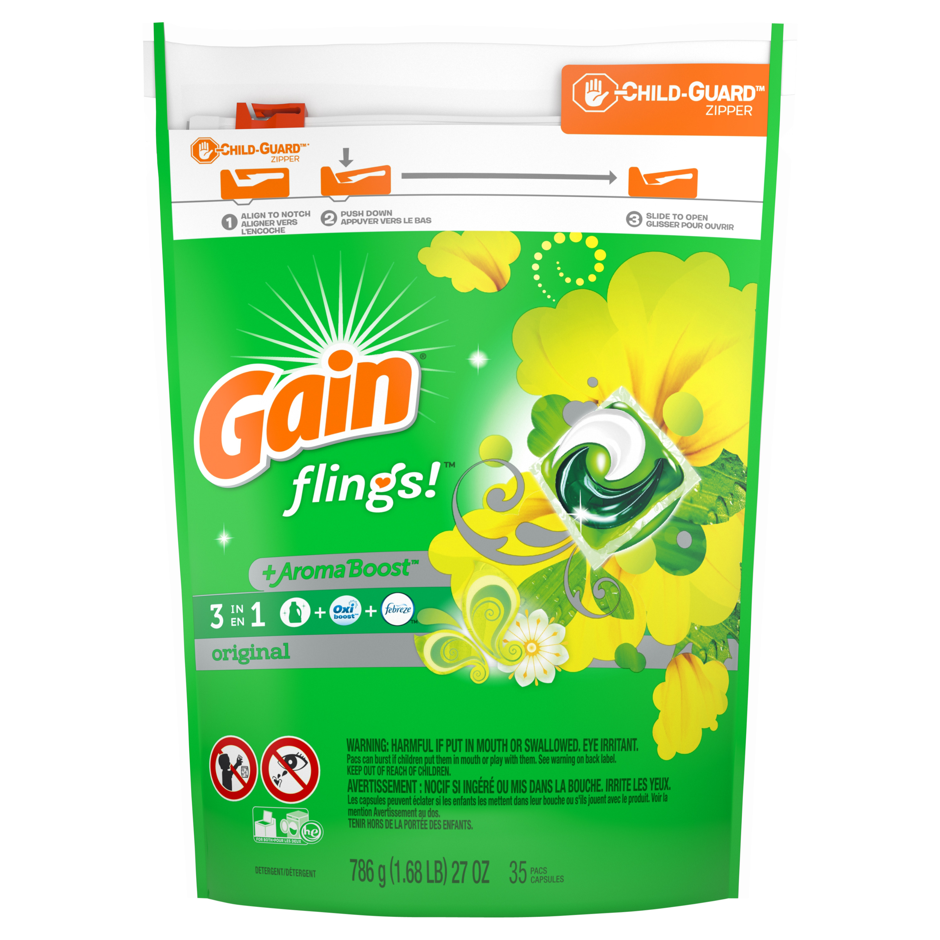 Gain flings! + Aroma Boost Laundry Detergent Pacs, Original, 35 Count
