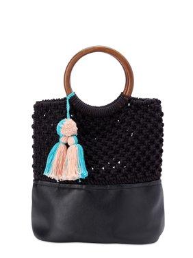 Twig & Arrow Macram Ring Top Handle Bag