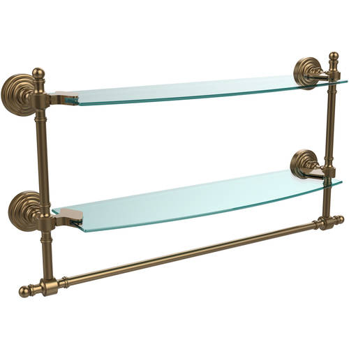"""Retro Wave Collection 18"""" 2-Tiered Glass Shelf with Integrated Towel Bar (Build to Order)"""