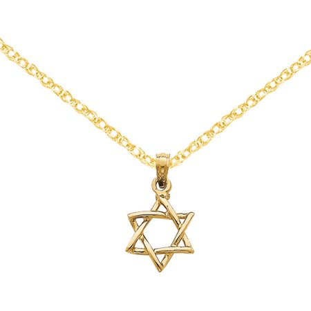 Love Star Of David Pendant - 14k Polished Star of David Pendant