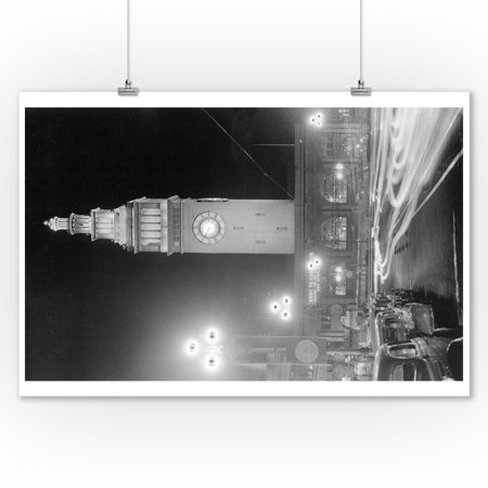 San Francisco, California - Exterior View of Ferry Building at Night (9x12 Art Print, Wall Decor Travel (San Francisco Buildings)