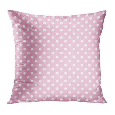 ECCOT Pink Polkadot Polka Dot Pattern White Announcement Baby Birth Birthday Pillow Case Pillow Cover 18x18 inch