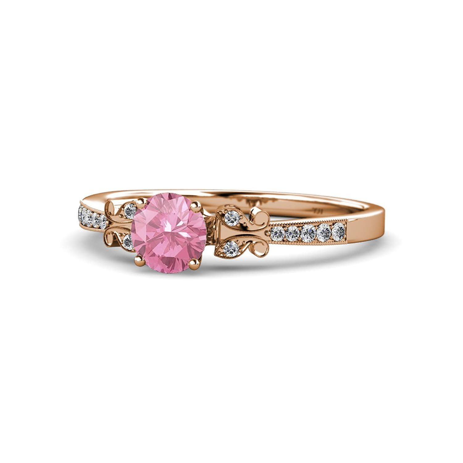 Pink Tourmaline & Diamond Milgrain Work Butterfly Engagement Ring 1.04 cttw in 14K Rose Gold.size 6.5 by TriJewels