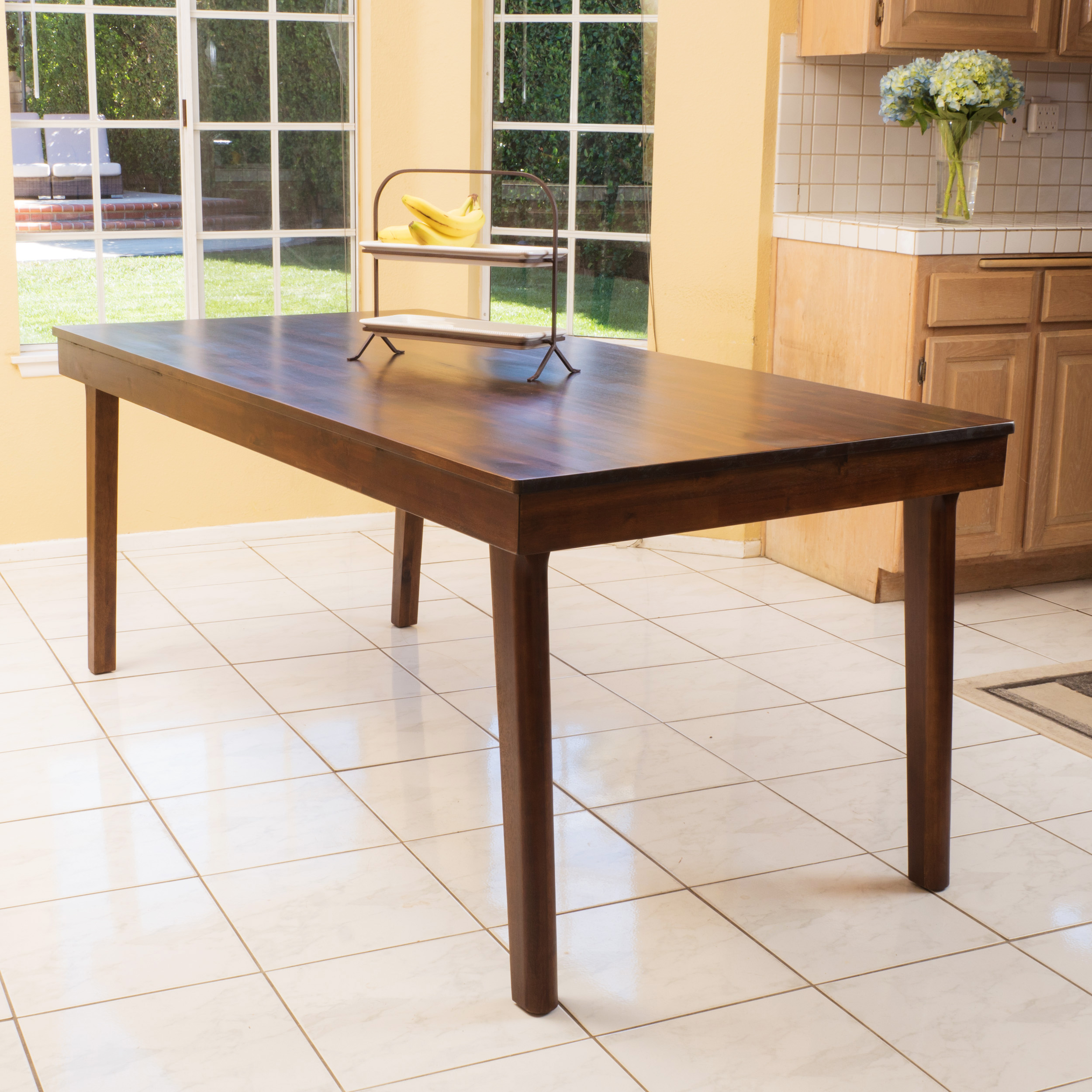 Albion Wood Dining Table, Rich Mahogany