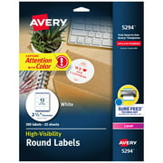 """Avery Round Labels, Laser Printers, 2-1/2"""", 300 Labels (5294)"""