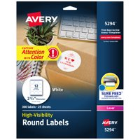 "Avery Round Labels, Laser Printers, 2-1/2"", 300 Labels (5294)"