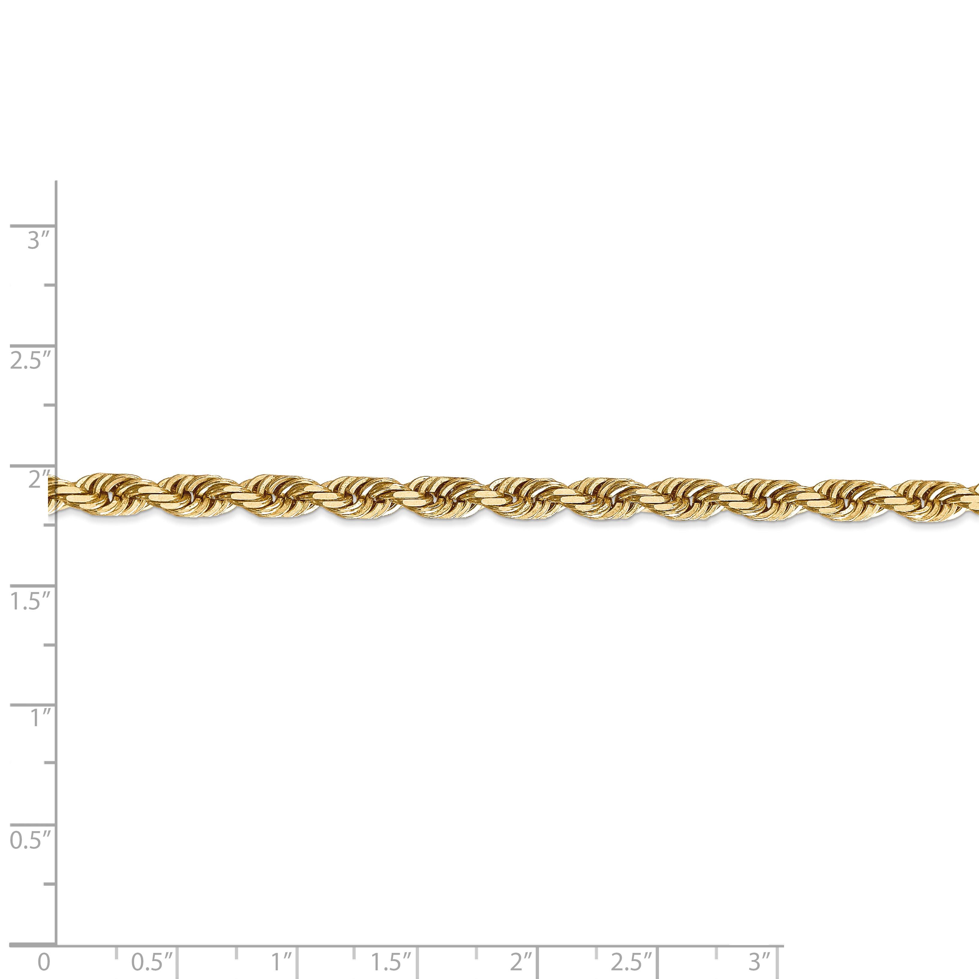 14K Yellow Gold 5.0mm Diamond Cut Quadruple Rope Chain 20 Inch - image 2 de 5