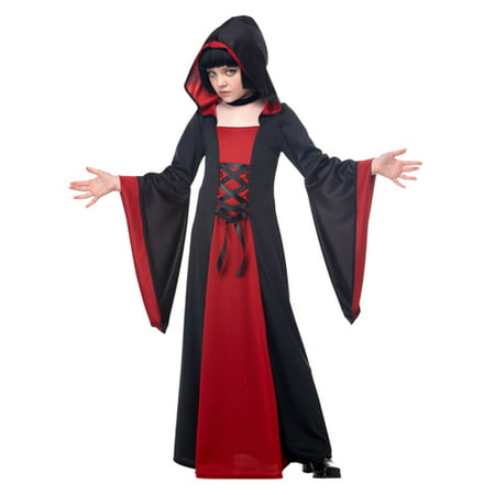 Red Hooded Robe Girls Vampire Halloween Costume (Girl Halloween Vampire Makeup)
