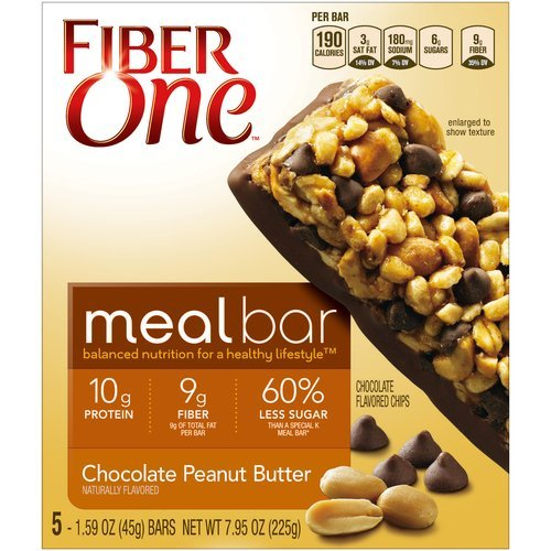 Fiber One Chocolate Peanut Butter Meal Bars, 1.59 oz, 5 count