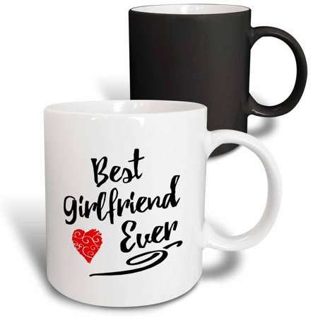 3dRose Typographic Best Girlfriend Ever Design - Magic Transforming Mug,