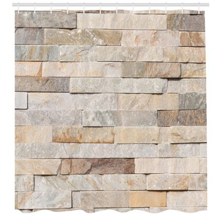 Ivory Shower Curtain, Urban Brick Wall Background Modern and Stylized Kitsch City Life Surface Print, Fabric Bathroom Set with Hooks, Cream Beige Tan, by (Ice Cream Shower Curtain Brick Red Pillowfort)