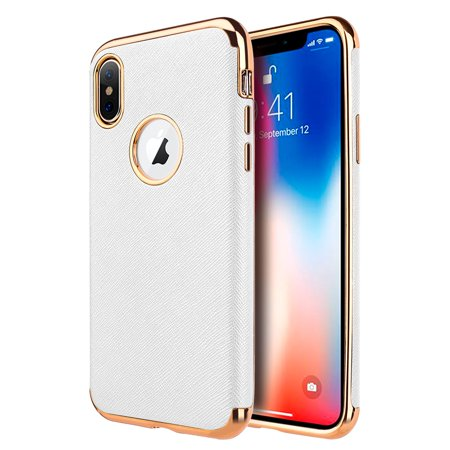 more photos 0fbf0 aa7be Apple iPhone XS Max Case, by Insten Saffiano Luxury Leather Case Cover For  Apple iPhone XS Max - White