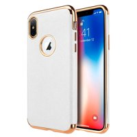 Apple iPhone XS Max Case, by Insten Saffiano Luxury Leather Case Cover For Apple iPhone XS Max - White
