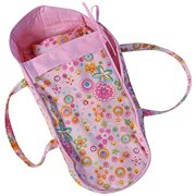 """baby whitney 18"""" pink floral fabric doll carrier toy bed (doll not included)"""