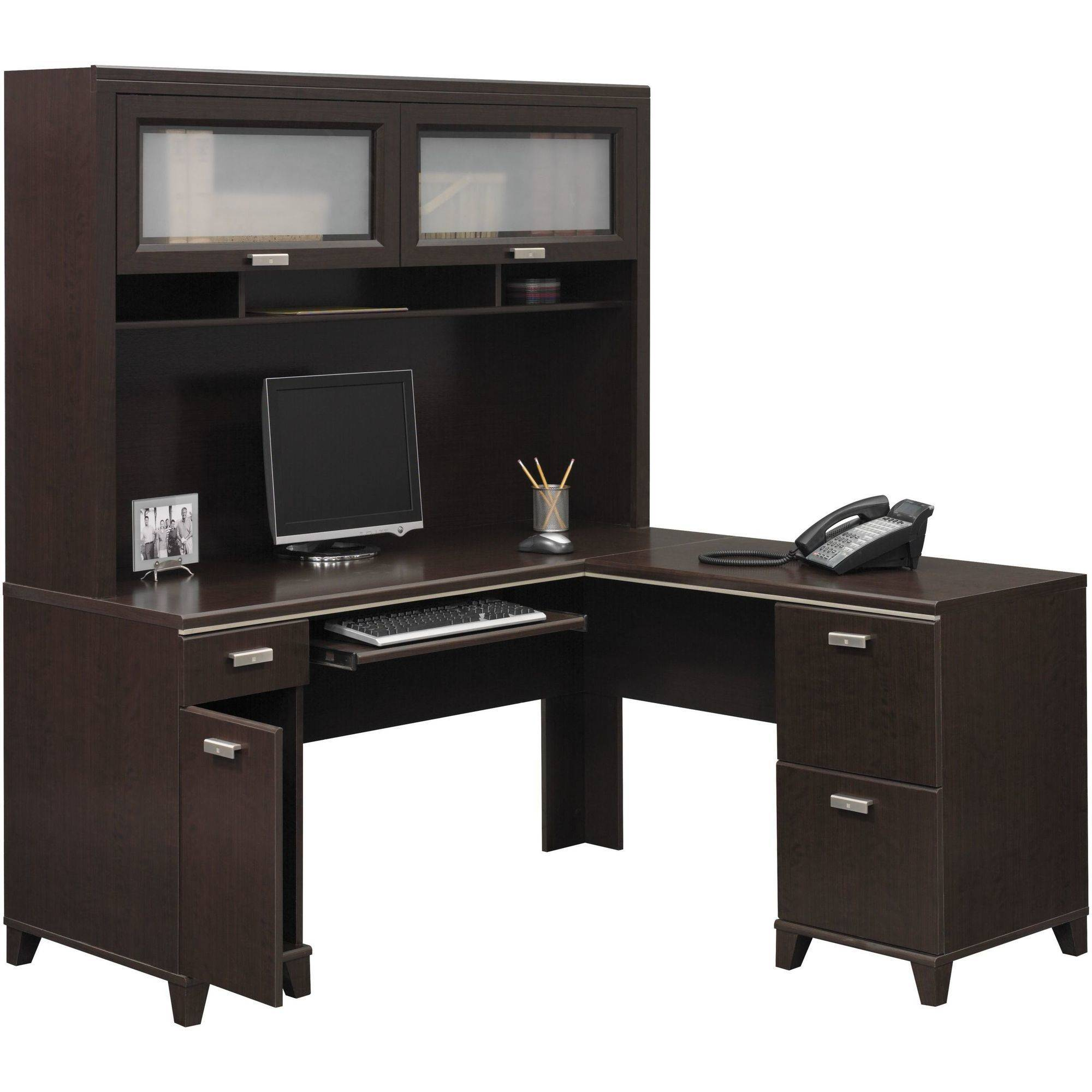Bush Furniture Tuxedo L Shaped Desk With Hutch In Mocha Cherry Com