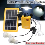 4-in-1 3W Solar Power System With 2 Emergency Lights Re the Cell Phone Solar panel With Electric Generator  Two Gear Dimming Solar Home DC System Kit
