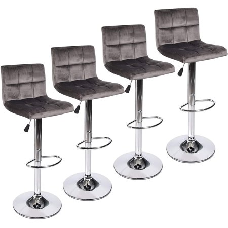 ELECWISH Set of 4 Gray Velvet Fabric Armless Chair Adjustable Swivel Hydraulic Bar Stool, Square Island Kitchen Counter Barstools with Back ()