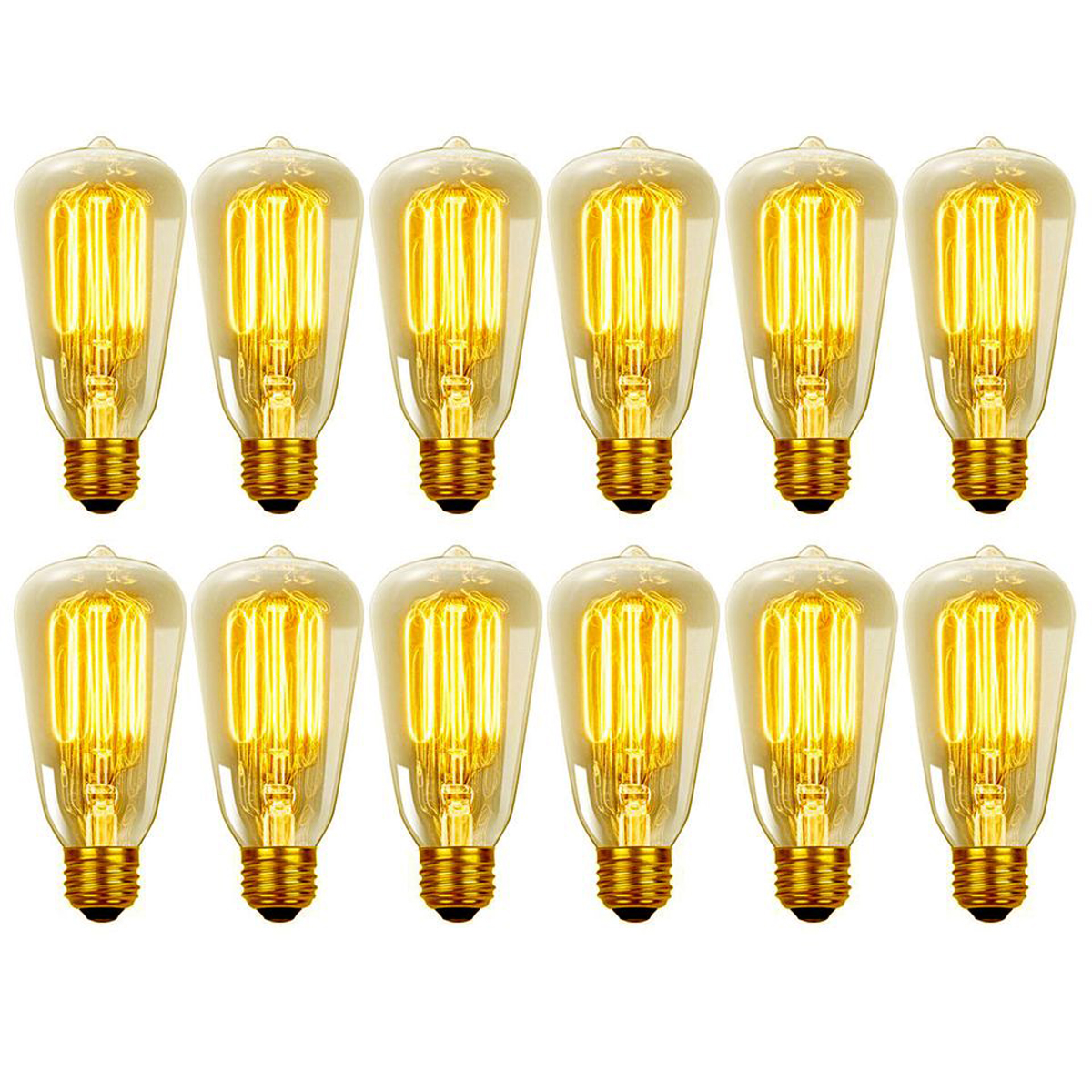 Globe Electric 40 Watt 40W Vintage Edison S60 Squirrel Cage Incandescent Filament Light Bulb (12-Pack)