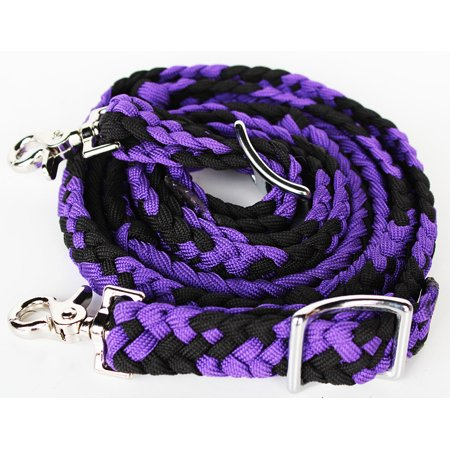 Horse Knotted Roping Western Barrel Reins Nylon Braided Rein Tack Purple 607132