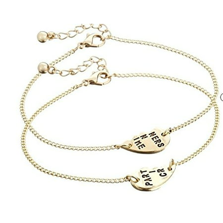 Generic LanLan 2 Set Partners Letters Heart Charm Anklet Bracelet Best Friends Friendship Gift ,Main (Best Friend Letter Ideas)