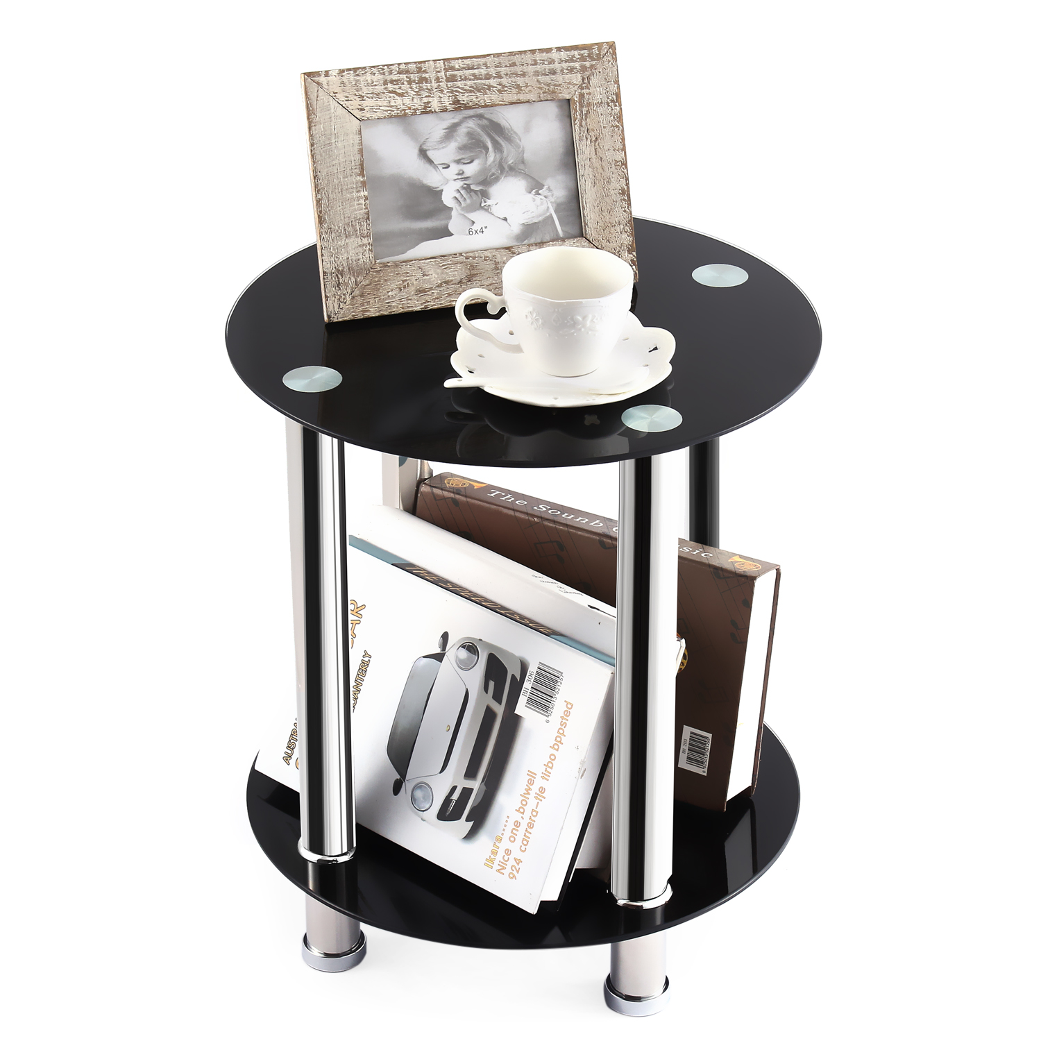 Rfiver 2 Set Square End Table, Sofa Table, Night Table with Tempered Glass Shelves