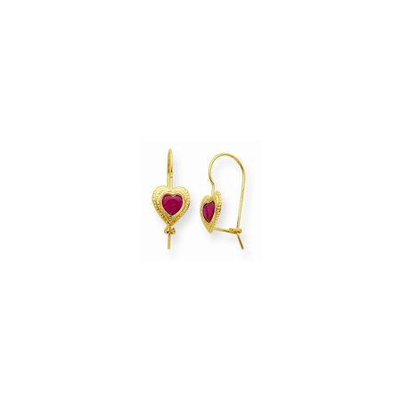 14k Yellow Gold Red Cubic Zirconia Cz Heart Drop Dangle Chandelier Earrings Love Gifts For Women For Her ()