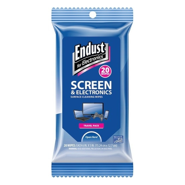 Endust Cleaning Wipe - Soft, Alcohol-free, Ammonia-free - 20 / Packet (efe14705)