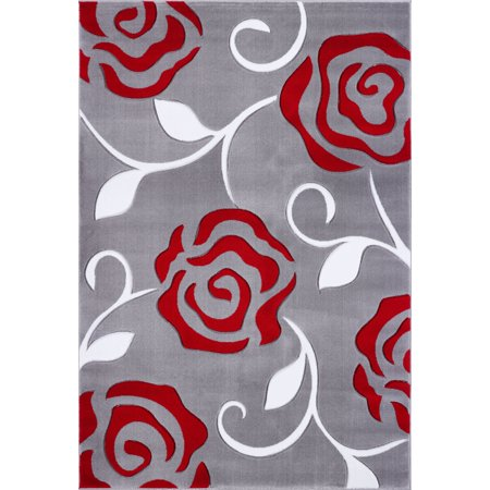 Ladole Rugs Turkish Rose Floral Pattern Innovative European Machine Made Area Rug Carpet in Grey Red, 4x6 (3'11