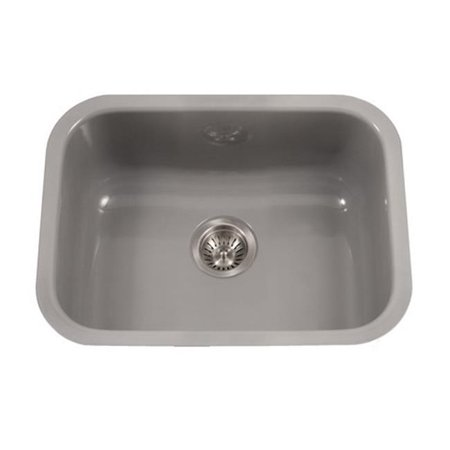 Houzer PCS-2500 SL Porcela Series Porcelain Enamel Steel Undermount Single Bowl Kitchen Sink, Slate - image 1 de 1