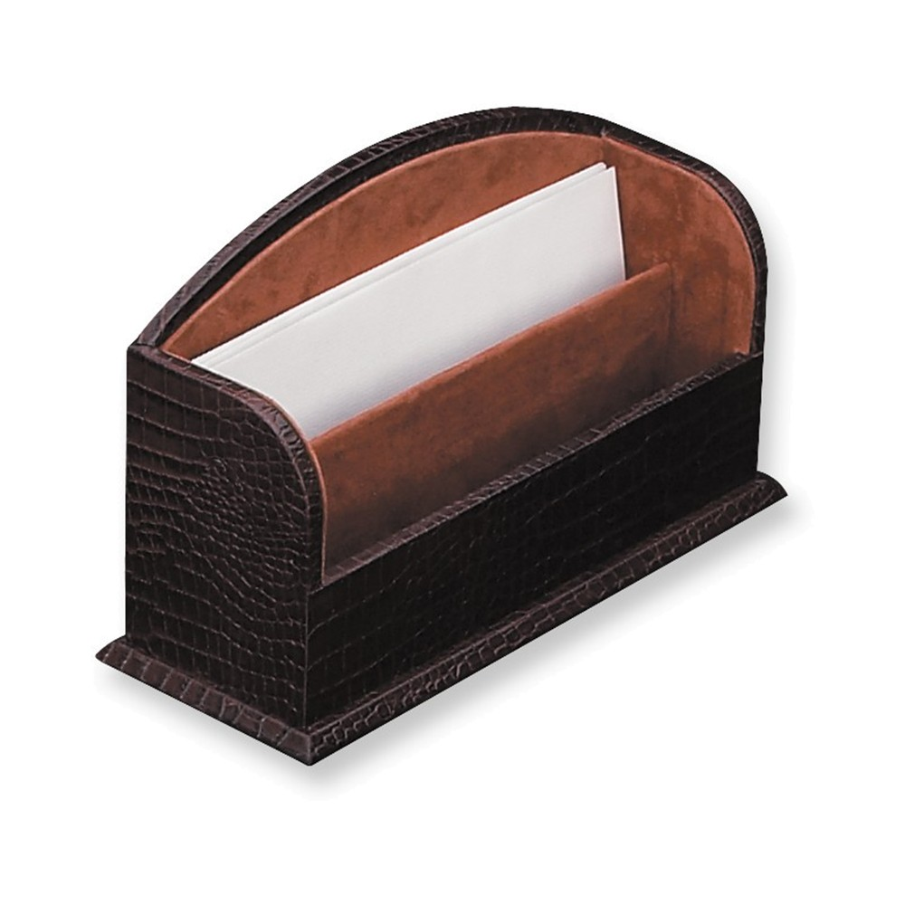 Brown Leather Letter Rack by