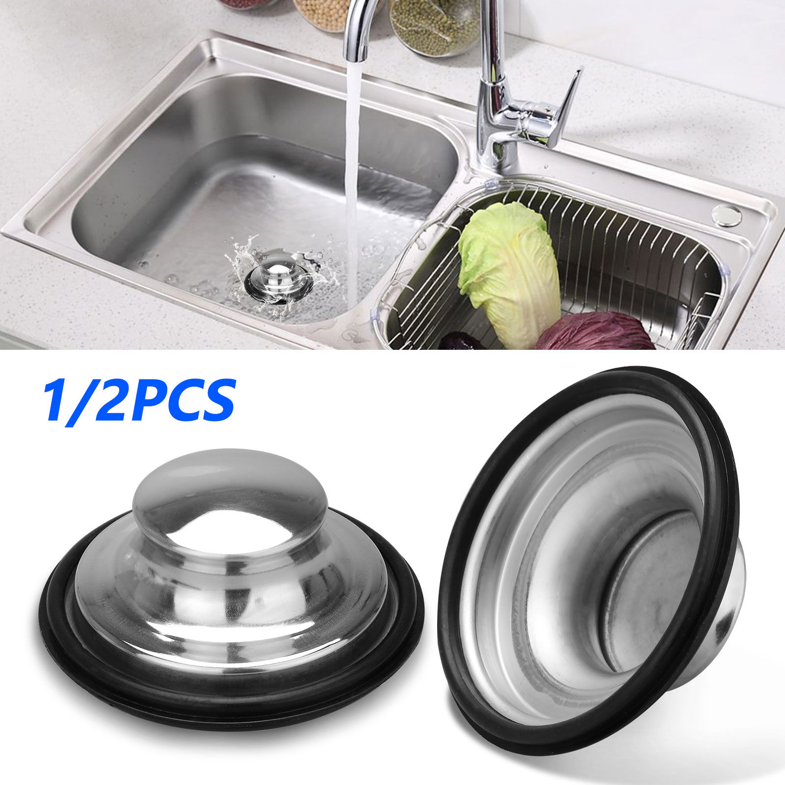 Picture of: Eeekit 2 1pcs Universal Kitchen Sink Stopper Cover Garbage Disposal Drain Stopper 3 5inch Diameter Stainless Steel Kitchen Sink Plug Cover Replacement For Standard Kitchen Drain Kitchen Accessories Walmart Com Walmart Com