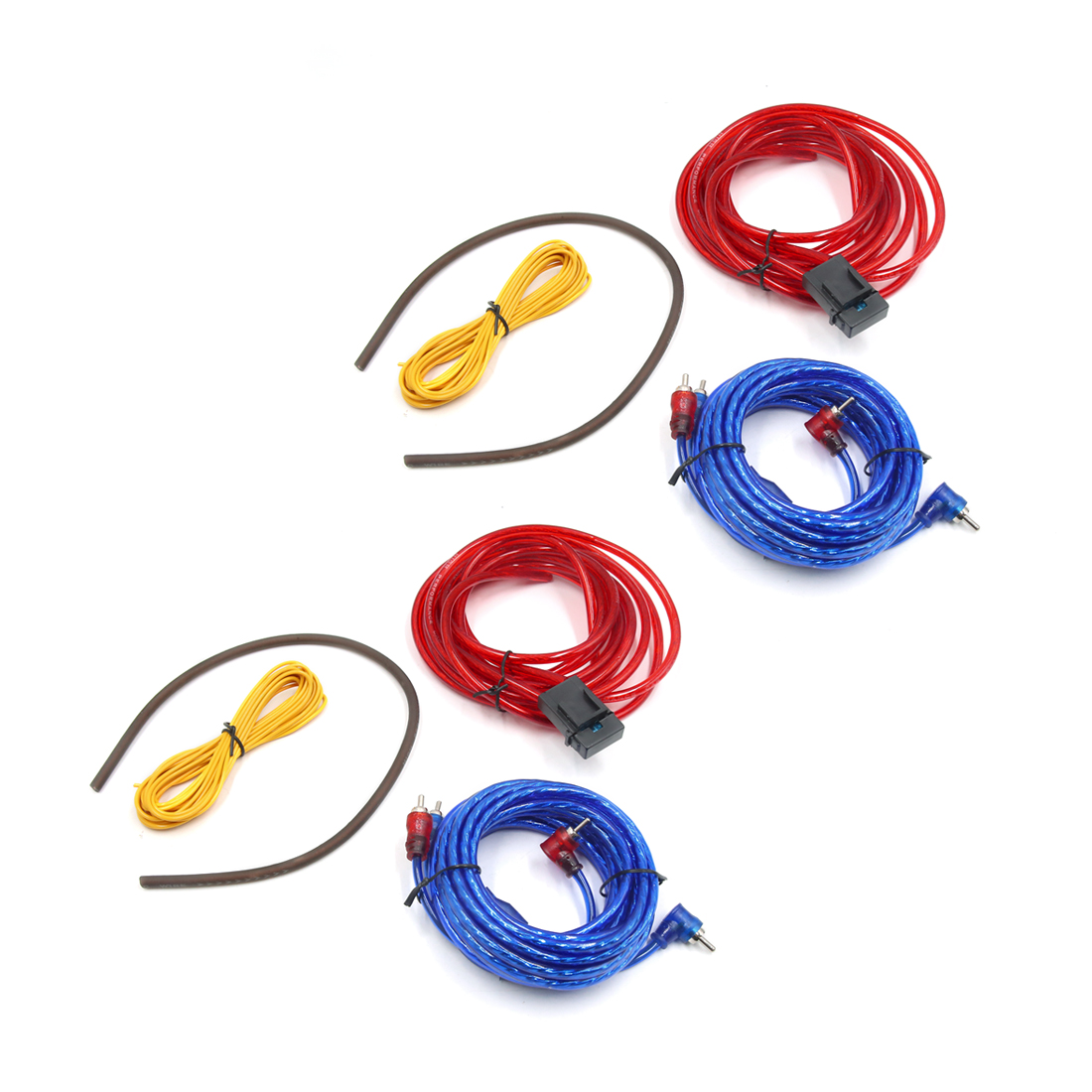 2Pcs 10 GA Car Audio System RCA Power Control Speaker Amplifier Cable Wire Kit