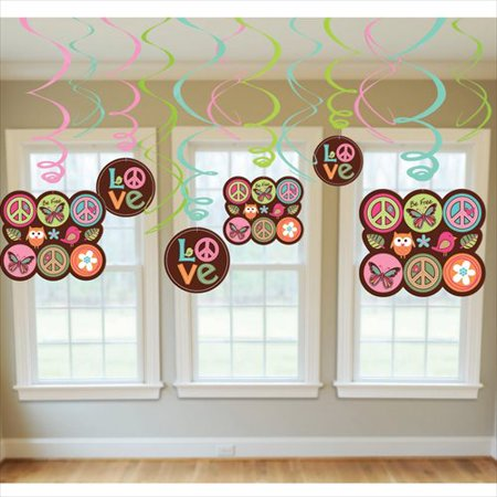 Hippie Chick Swirl Decorations (12pc)