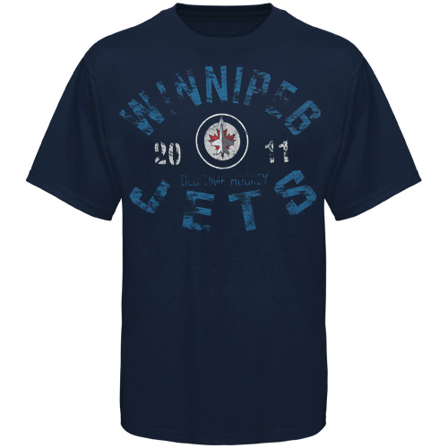 Old Time Hockey Winnipeg Jets Five For Fighting Adams T-Shirt Navy Blue by Old Time Hockey