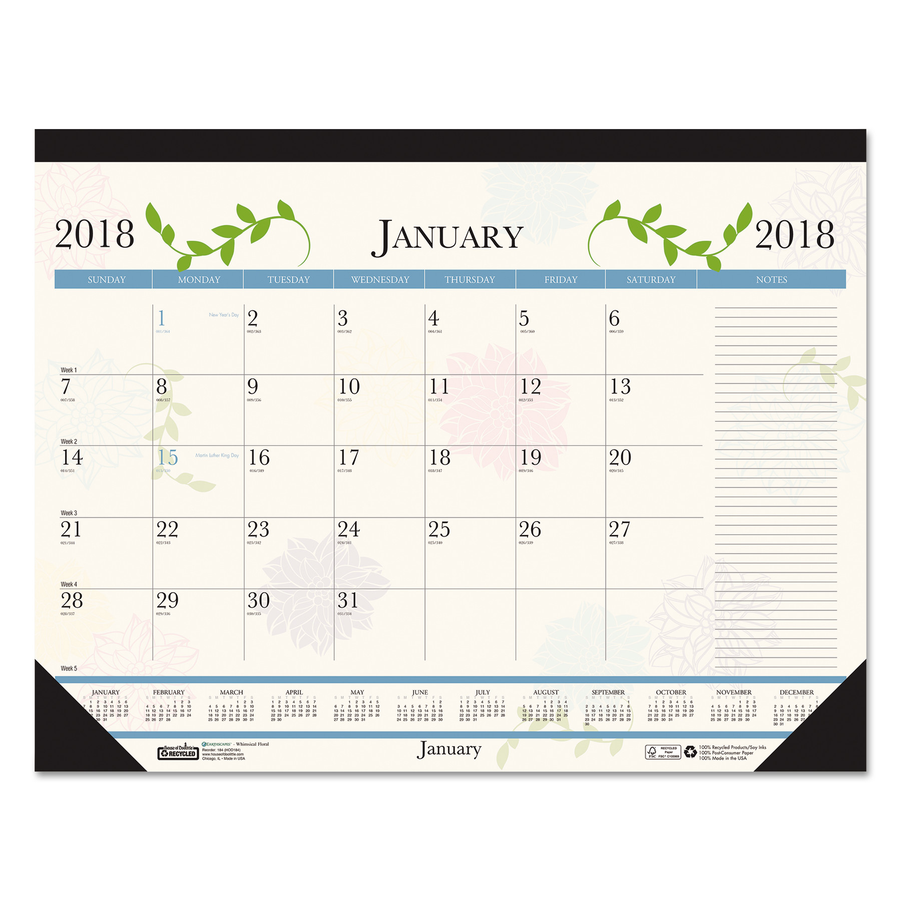 House of Doolittle Recycled Floral Desk Pad Calendar, 18 1/2 x 13, 2018