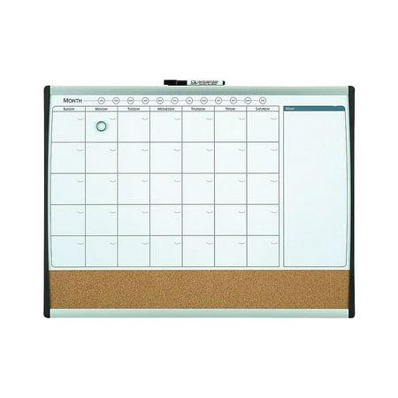 Staples Magnetic Comb. Calendar Bd Dry-Erase & Cork Black/Silver Frame 17x23
