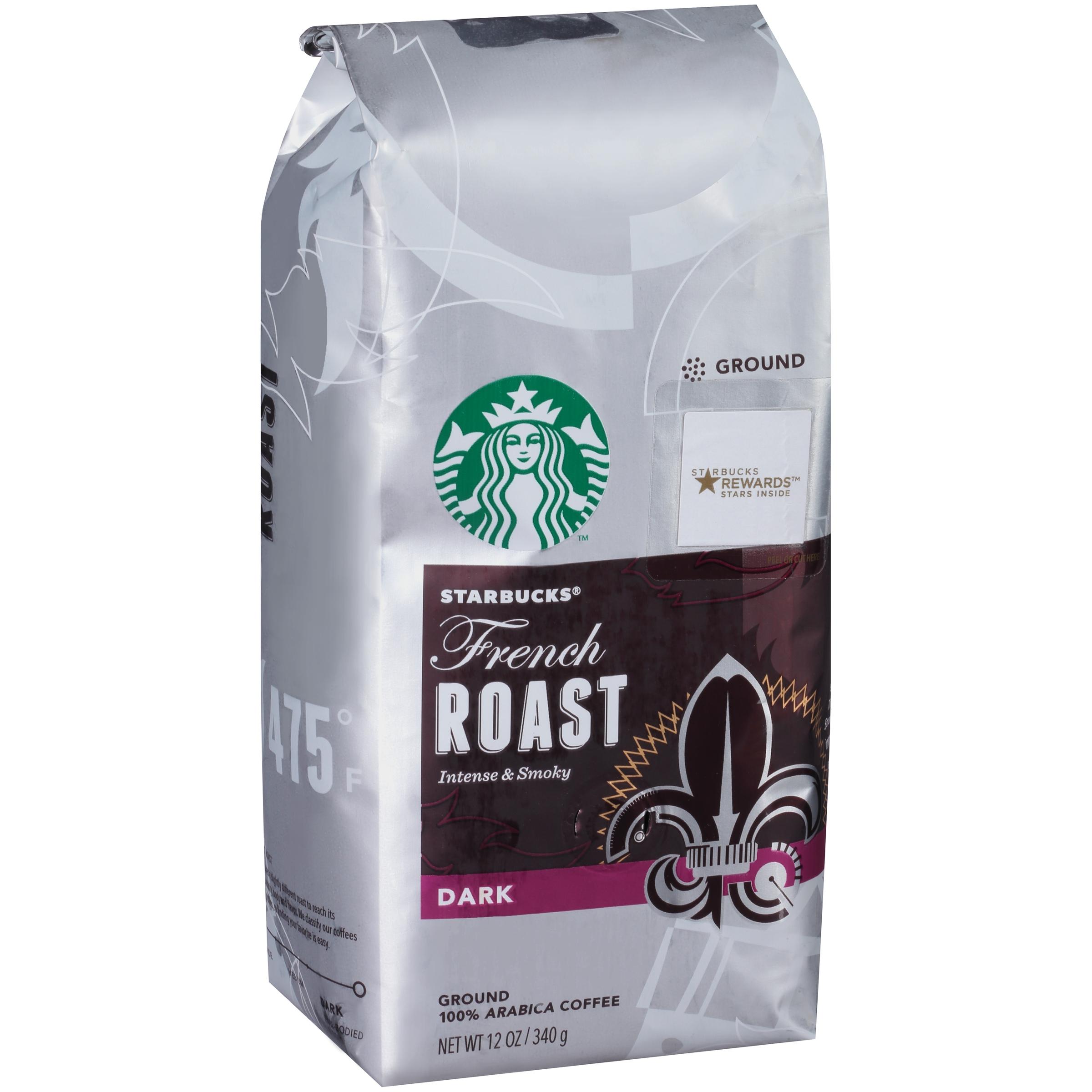 Starbucks French Roast Dark Ground Coffee 12 Oz Stand Up Bag