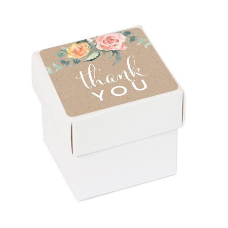 Peach Coral Kraft Brown Rustic Floral Garden Party Wedding, Favor Box DIY Party Favors Kit, Thank You, 20-Pack Floral Favor Boxes