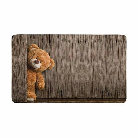 MKHERT Cute Teddy Bears with Old Wood Doormat Rug Home Decor Floor Mat Bath Mat 30x18 inch ()