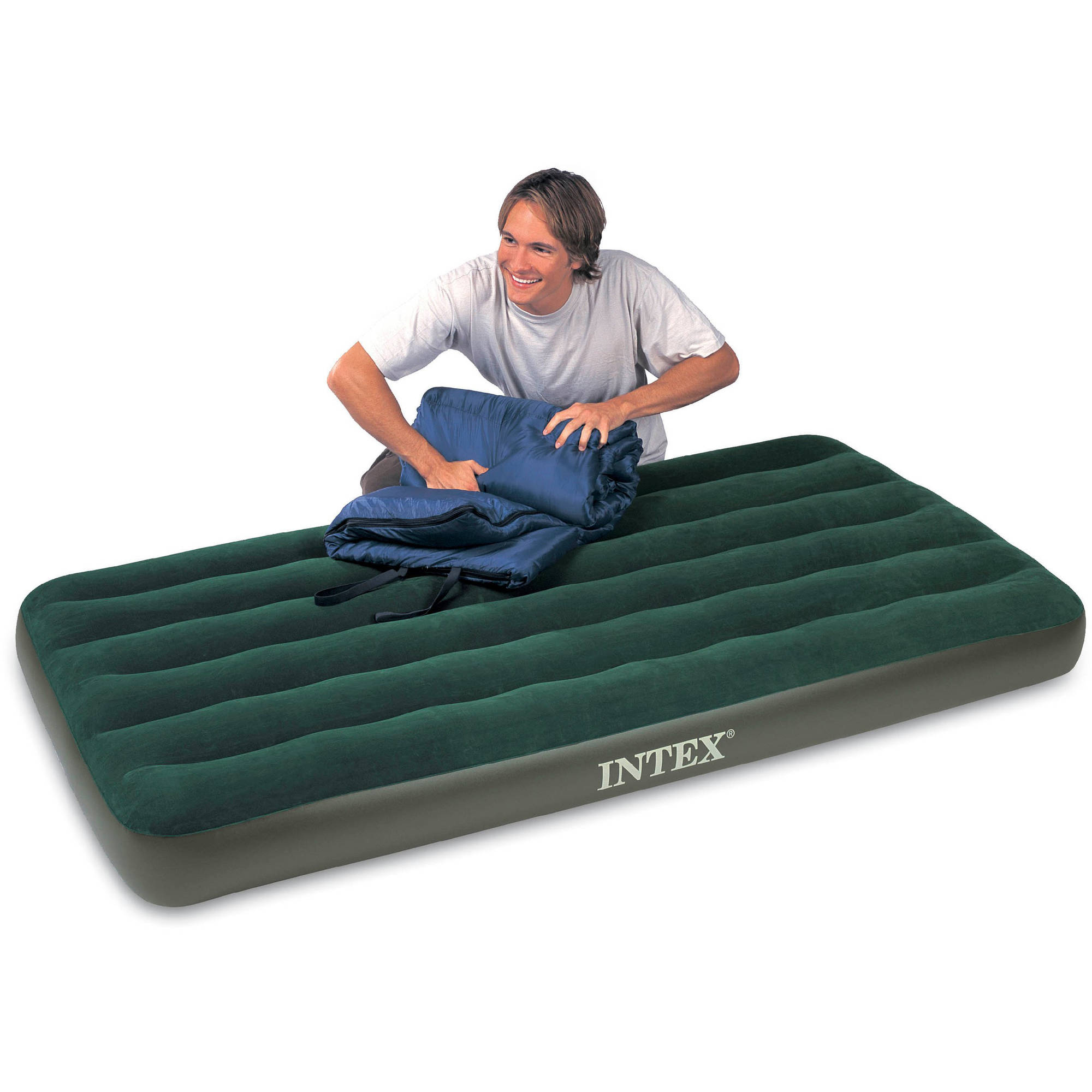 "Intex Twin 8.75"" Prestige Downy Airbed Mattress with Handheld Battery Pump"